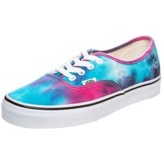 Vans AUTHENTIC Trainers tie dye/blue ($78) ❤ liked on Polyvore featuring shoes, sneakers, vans, zapatos, pink, vans footwear, blue flat shoes, tie-dye shoes, pink sneakers and flat sneakers
