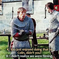 OMG. That is adorable. I thought that it was just something Arthur would do to tease Merlin. Well apparently it was something Bradley would do to tease Colin!! (: