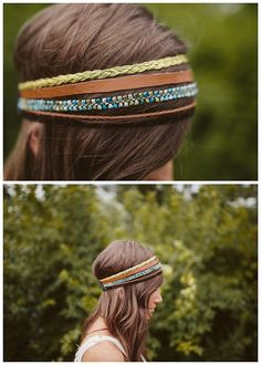 DIY Easy Multi Strand Headband Tutorial from Sincerely, Kinsey here. This is such an easy DIY because it's bits of trim anchored in back with a piece of elastic. For more DIY headbands go here and for more headpieces go here.