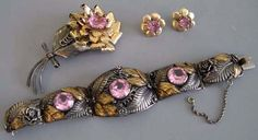 Hobé - Bijoux Vintage - Bracelet, Broche et Boucles d'Oreilles - Argent et Pierres Imitation - Années 40