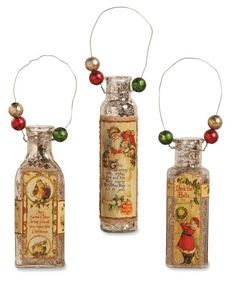 Mercury Glass Bottle Ornaments | Bethany Lowe Christmas - The Holiday Barn