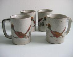60's Otagiri, 4 Vintage Roadrunner Coffee Cups, Mugs.  Mid century modern. via Etsy.