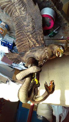 Eagle captured a snake