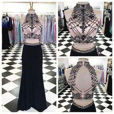 AHP073  Black Skirt 2 Pieces Mermaid Prom Dresses,Sexy Evening Dress