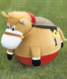 Giddy Up Racing Horse Hoppers offer hours of fun for kids. These fun racing horse hoppers feature full plush fabric covers stretched over a PVC hopper Horse Racing Party, Racing Baby, Horse Party, Cowboy Party, Stick Horses, Cute Horses, Farm Animal Party, Derby Party, Outdoor Toys