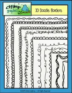 FREE Doodle Borders - Save ink with these great black line borders from Chirp Graphics! - 10 unique borders, 19 images in all! All borders come with a transparent background, 9 also come with white fill. Cute Borders, Doodle Borders, Borders And Frames, Doodle Frames, Doodle Art, Free Doodles, Classroom Freebies, Classroom Ideas, Stencil