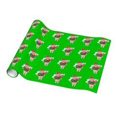 Flying Pig with Wreath, Christmas Wrapping Paper  #whenpigsfly