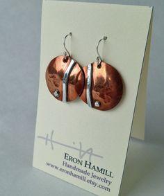 Handmade Copper & Sterling Silver Dangle Earrings por EronHamill