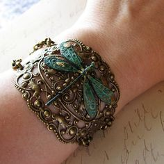 Items similar to Bracelet Dragonfly Cuff Style - Green Verdigris Patina Charm Ornate Filigree with Chain Big and Bold Statement on Etsy Dragonfly Jewelry, Dragonfly Art, Bracelet Fil, Bangle Bracelets, Bangles, I Love Jewelry, Jewelry Making, Unique Jewelry, Gypsy