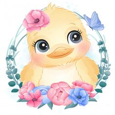 Cute Little Bird Portrait With Floral Clipart Baby, Cartoon Kunst, Cartoon Art, Cute Images, Cute Pictures, Animal Pictures, Baby Animal Drawings, Baby Animals, Cute Animals