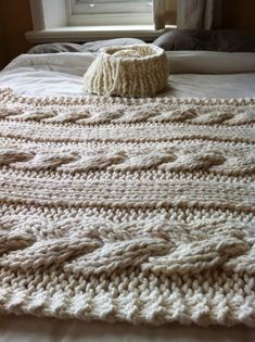 Knitting Patterns Blanket Ravelry: Cable Knit Blanket pattern by Knitting Revolution Vogue Knitting, Knitting Yarn, Knitting Patterns, Knitted Afghan Patterns, Knitting Ideas, Cable Knit Blankets, Cable Knit Throw, Super Chunky Yarn, Thick Yarn