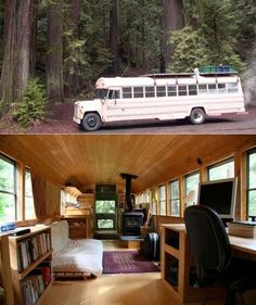 Bus Conversion - I love this clean zen-like interior, but I'm missing a kitchen. Perhaps that's in a second bus!