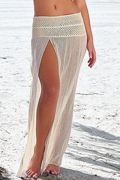 Slit Elastic Waist Long Skirt