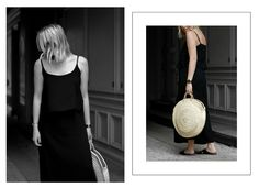 Maxi dress black Straw bag Minimal look ootd fashion style Bykrog Cecilie Krog
