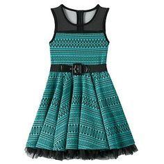 Knitworks Geometric Tulle Skater Dress - Girls 7-16 & Girls' Plus
