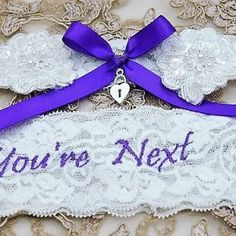 Royal purple garter set - made for Larissa Wedding Garters, Garter Set, Heavenly, Custom Design, Palette, Colour, Bride, Purple, Fit