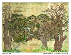 """Piece by Anne Hellyer member of Embroiderers' Guild Andover branch. Part of the """"Landscapes and Gardens"""" exhibition at Sir Harold Hillier Gardens 11 April - 30 October 2016 showing work based on the landscape and gardens.. Exhibition held as part of the UK's Capability Brown Festival"""