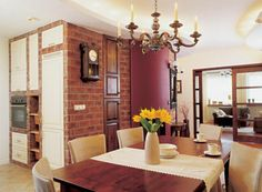 Bricked living room and kitchen