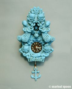 Items similar to Faethm Cuckoo Clock wall clock art sculpture Turquoise Robins Egg Blue by Marisol Spoon on Etsy Diy Clock, Clock Art, Clock Ideas, Coo Coo Clock, Kitsch, Clock For Kids, Cool Clocks, Grandfather Clock, Antique Clocks