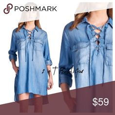 """🎉NEW ARRIVAL 🎉 Denim lace up tunic dress Denim high low dress featuring pockets and tie front. Sleeves can be worn long or 3/4"""". Super comfortable and can be styled so many ways.  Denim is so classic ❤️ 100% Lyocell. BUST: measured laying flat from armpit to armpit Small 20"""", Med 21"""", Large 22"""".  TK1825223 PRICE FIRM UNLESS BUNDLED! Suzanne is 5'6"""" size 2/4 modeling size small. 2 a T Boutique  Dresses High Low"""