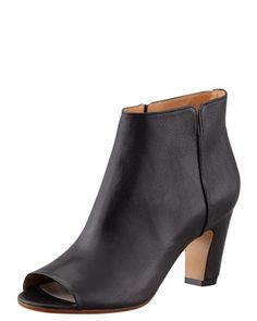 Mid-Heel Peep-Toe Ankle Boot, Black by Maison Martin Margiela