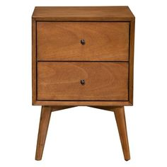 Alpine Furniture Flynn Mid Century Modern 2 Drawer Nightstand, Acorn * You can find more details by visiting the image link. (This is an affiliate link) Alpine Furniture, Modern Furniture, Kitchen Furniture, Classic Furniture, Table Lamps For Bedroom, Bedroom Furniture, Bedside Tables, Apartment Furniture, 2 Drawer Nightstand
