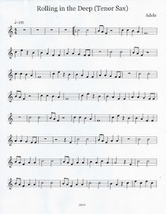 Flute & Tenor Sax Sheet Music :): Rolling in the Deep (Tenor Sax) Saxophone Notes, Saxophone Sheet Music, Bass Clarinet, Violin Music, Music Words, Music Humor, Music Stuff, Music Is Life, Saxophone Tenor