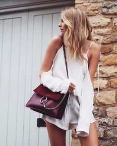 Fashion Blogger White Two Piece - Chloe Faye Medium in Burgundy / Plum
