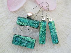 Green fused glass dichroic earrings