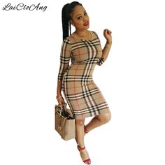 2e4bd4156628a New Arrivals Plaid Print Sheath Dress Elegant Casual O-Neck Three Quarter  Sleeve Women Bodycon