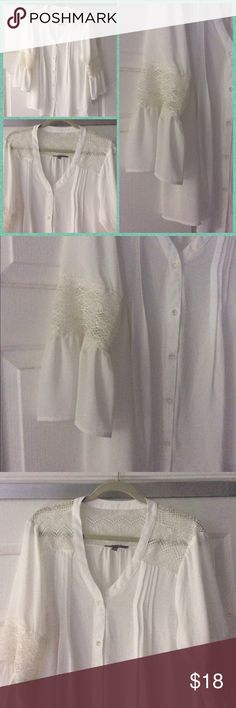 Blouse White bell sleeve and lace top.  NWOT NY Collection Tops Blouses