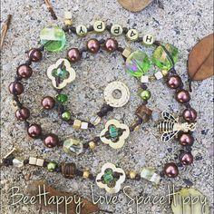 LuckyRaps(TM) Bee Happy triple wrap bracelet by SpaceHippyTM, exra hippy