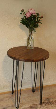 Rustic Vintage Industrial Wood Round Table Metal Hairpin Legs