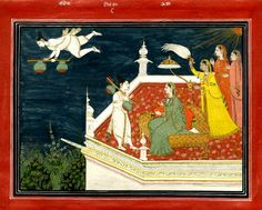 A lady being entertained by women musicians or Usha sending her maid to find Aniruddha (?). Painted on paper.       Pahari School,     Kangra Style.  Date      18thC(early).      Painted in: Panjab Hills