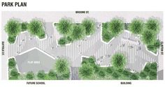 A site plan for the Essex Crossing park along Broome Street between Suffolk and Clinton streets Rendering by 8 West Landscape Design Plans, Landscape Concept, Landscape Architecture Design, Architecture Graphics, Urban Landscape, Architecture Diagrams, Architecture Portfolio, The Plan, How To Plan