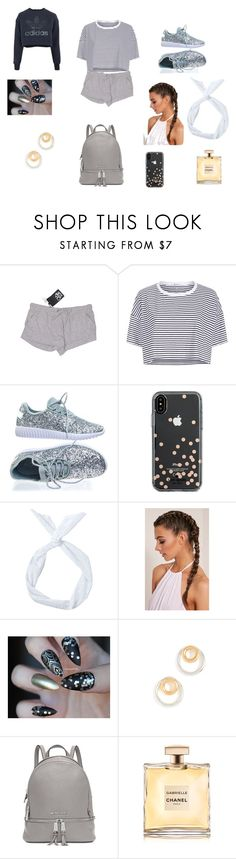 """hang out with friends"" by lexi-dances ❤ liked on Polyvore featuring Chaser, T By Alexander Wang, Forever Link, Kate Spade, Madewell, Michael Kors and adidas"