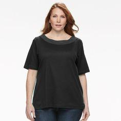 Plus Size Women's Croft & Barrow® Crochet Tee, Size: 1XL, Black