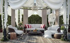 Collection of dreamy romantic interiors includes this outdoor space, click through to see the surroundings...lovely..