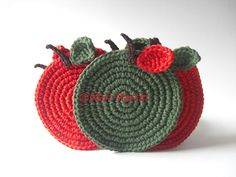 Crochet Coasters Christmas Apples