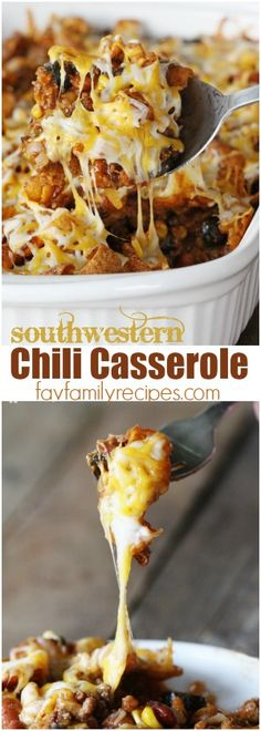 Chili Casserole is the perfect comfort dinner. Delicious layers of crunchy Fritos, Southwestern chili, and melty cheese make for a winning weeknight meal! #chili #chilicasserole #chilipie #cheese #tacopie #fritos #fritopie #dinner #beef #casserole #onedishdinner via @favfamilyrecipz