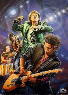 The Rolling Stones - Mick Jagger (vocals), Keith Richards (guitar), Ronnie Wood (guitar), Charlie Watts (drums) Mick Jagger Rolling Stones, The Rolling Stones, Ronnie Wood, Greatest Rock Bands, Rock And Roll Bands, Pop Rock, Rockn Roll, Rock Posters, Keith Richards