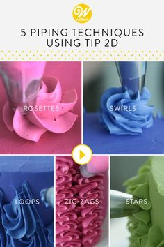 T ip is such a versatile tip for cake decorating! This star decorating tip can be used for much more than your traditional piping techniques. Check out these five quick and easy ways to decorate cakes, cupcakes and other desserts using Tip in this vi Cake Decorating Piping, Creative Cake Decorating, Cake Decorating Videos, Creative Cakes, Cookie Decorating, Cake Decorating Designs, Creative Ideas, Decorating Ideas, Icing Tips