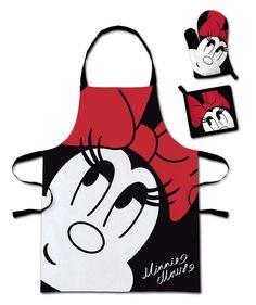 Conjunto accesorios de cocina para niño Minnie. Disney Original y sobre todo divertido delantal de cocina, guante para el horno y paño con la imagen de la simpática Minnie, ideal para niños de entre 3 y 8 años, 100% oficial y licenciado perteneciente a la factoría Disney. Perfecto para los niños cocinitas.
