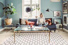 Decor, Living Room Inspiration, Interior Design Living Room, Dining Room Design, Blue Living Room, Blue Walls Living Room, Mid Century Living Room, Room Paint Colors, Elle Decor Living Room