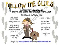Follow the Clues: A Descriptive Language Game product from TheSpeechPath on TeachersNotebook.com
