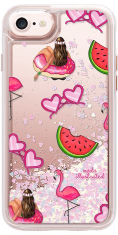 Casetify iPhone 7 Glitter Case - Summer Love Flamingos Floatie and Watermelons by Moda Illustrated #Casetify