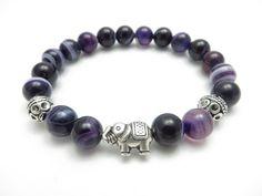 Sacred Elephant Healing Mala Bracelet Yoga Jewelry Purple Agate Wisdom Yoga Bracelet Meditation Mala Calming Gemstone Beads Reiki Wrist Mala by HVart on Etsy https://www.etsy.com/listing/158996779/sacred-elephant-healing-mala-bracelet