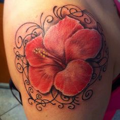 My work! A hibiscus #tattoo on shoulder