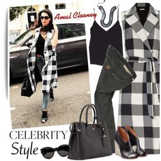 Celebrity Style: Amal Clooney by ansev on Polyvore featuring L'Agence, Tome, Paul Smith, Maison Margiela, Prada, c.A.K.e. by Ali Khan, Yves Saint Laurent, CelebrityStyle, sleevelesscoat and Amal