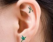 Items similar to Hummingbirds Temporary 12 Ear Tattoos Finger or Toe Tattoos - 2 Styles Included on Etsy